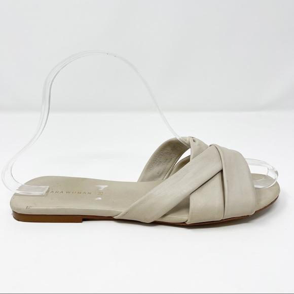 Zara Crisscross Slide Flat Sandals Ivory Size 6